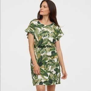 H&M XL Dress Leaf Palm Print Linen Blend